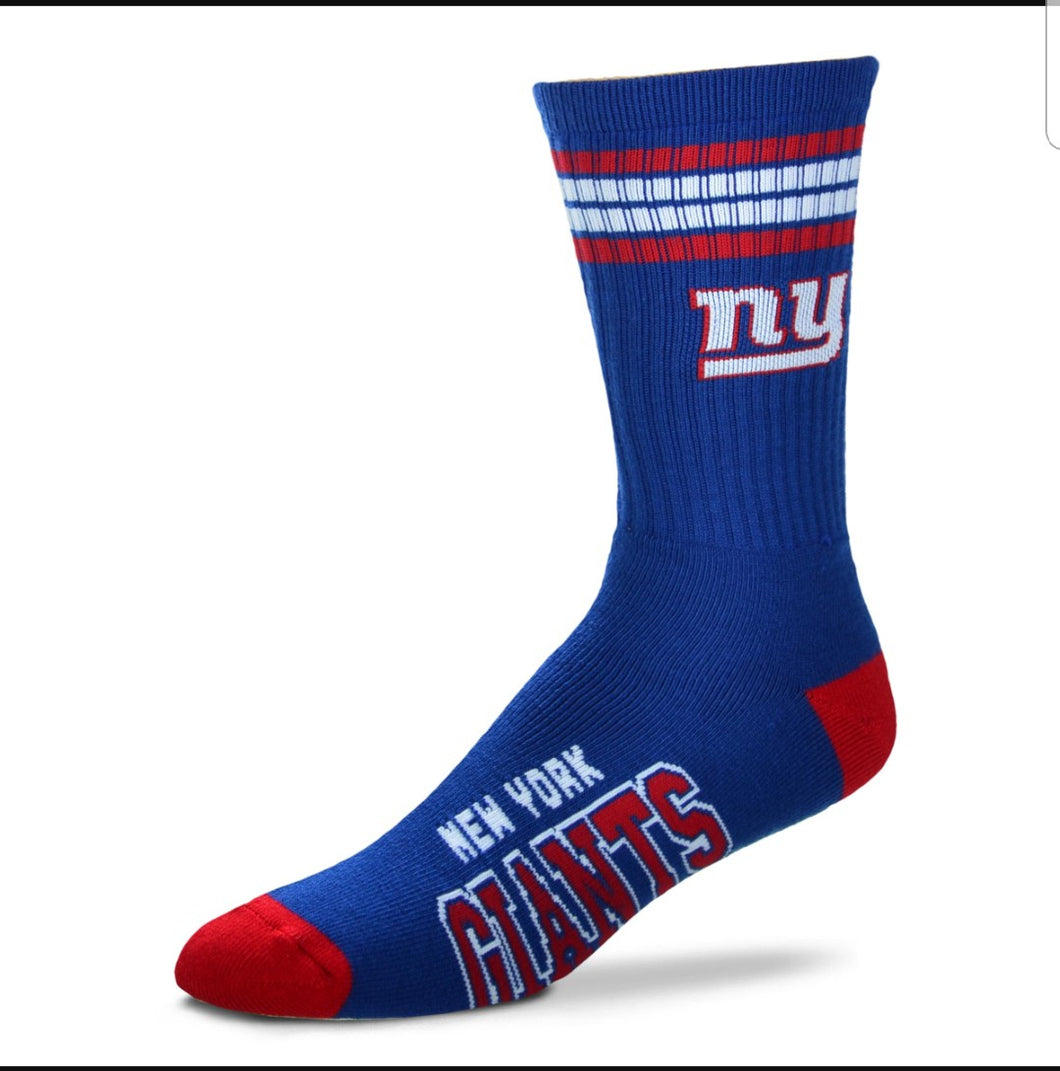 For Bare Feet NY Giants 4-Striped Socks