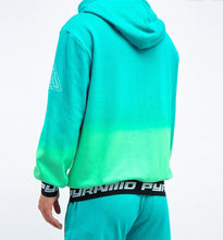 Load image into Gallery viewer, Black Pyramid Dip Dye Pastel Hoodie ( Green)