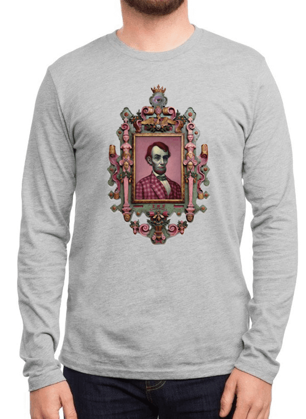 Virgin Teez T-shirt SMALL / Gray Abraham Lincoln Portrait Full Sleeves T-shirt