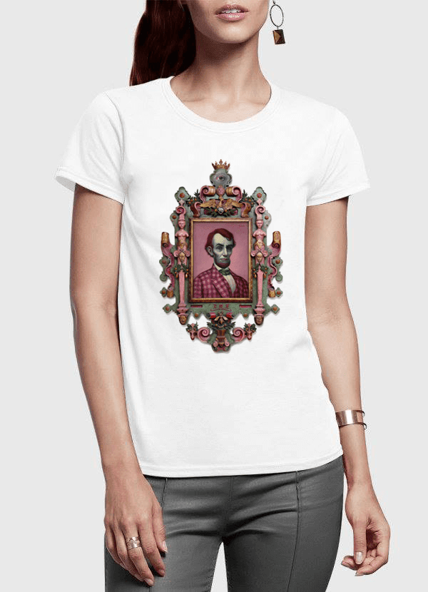 Virgin Teez Women T-Shirt SMALL / White Abraham Lincoln Portrait Half Sleeves Women T-shirt