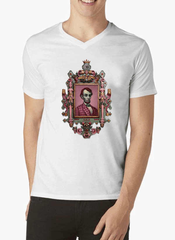 Virgin Teez T-shirt SMALL / White Abraham Lincoln Portrait V-Neck T-shirt