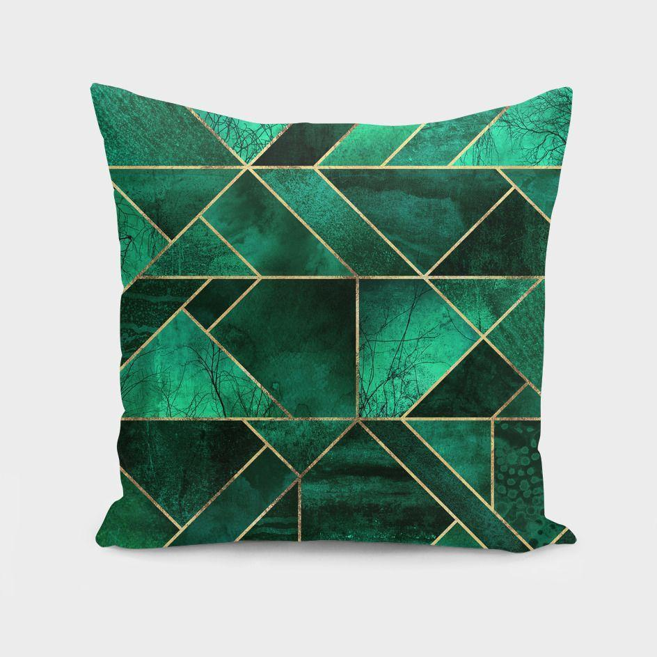 "The Pillow pillows 16"" x 16"" Abstract Nature - Emerald Green  Cushion/Pillow"