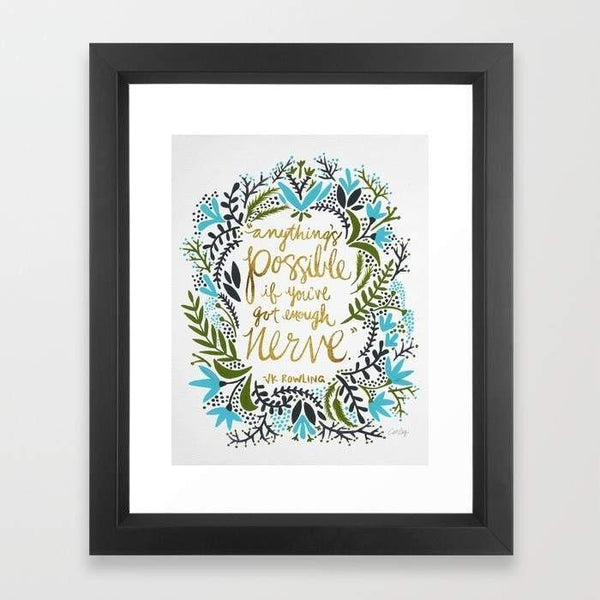 "LUVD Framed Art Prints 12"" x 18"" / Black Anything's Possible Frame"