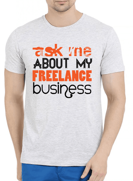 Virgin Teez T-shirt SMALL / Offwhite Ask Me About Business Half Sleeves Melange T-shirt