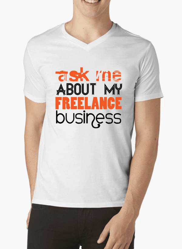 Virgin Teez T-shirt SMALL / White Ask Me About Business V-Neck T-shirt