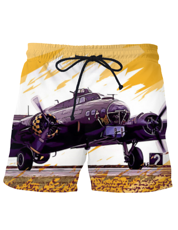 "VIRGIN TEEZ Shorts SMALL (28""-18"") B-17 Flying Fortress  Shorts"