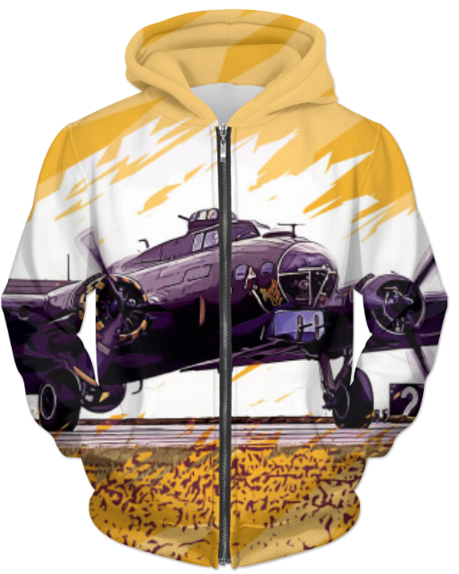 VIRGIN TEEZ Sublimation Hoodie Small B-17 Flying Fortress  UNISEX ZIP HOODIE