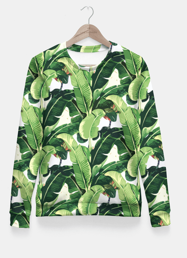 Sadaf Hamid Sweat Shirt Small Banana leaves pattern Fitted Waist Sweater