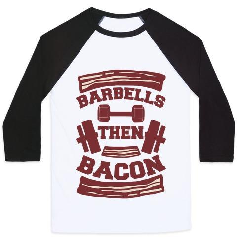 Virgin Teez  Baseball Tee Unisex Classic Baseball Tee / x-small / White/Black BARBELLS THEN BACON UNISEX CLASSIC BASEBALL TEE