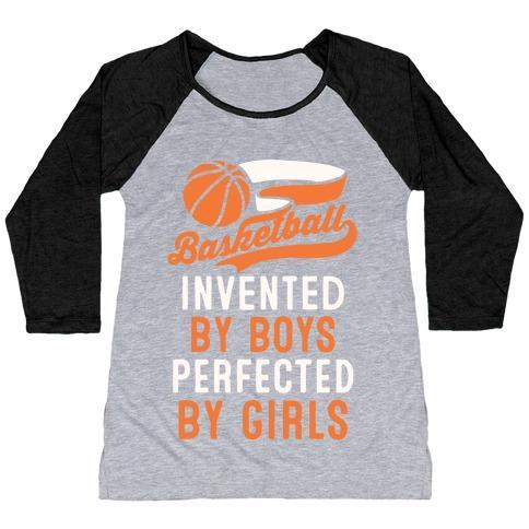 Virgin Teez  Baseball Tee Women's Tri-Blend Baseball Tee / small / Athletic Gray / Black BASKETBALL: INVENTED BY BOYS PERFECTED BY GIRLS WOMEN'S TRI-BLEND BASEBALL TEE