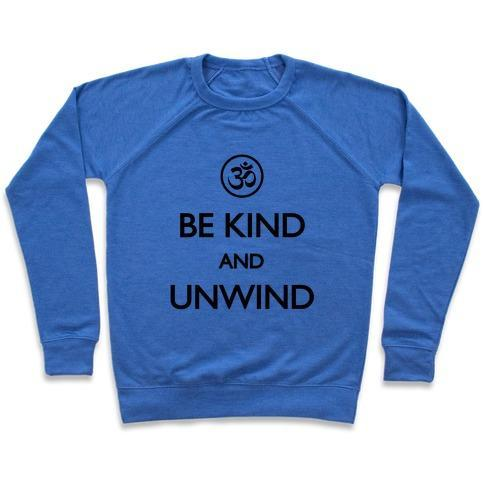 Virgin Teez  Pullover Crewneck Sweatshirt / x-small / Heathered Blue BE KIND AND UNWIND (TANK) CREWNECK SWEATSHIRT