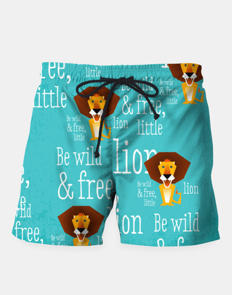 "Maria Shorts SMALL (28""-18"") Be Wild and Free, Little Lion Swim Shorts"