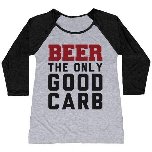 Virgin Teez  Baseball Tee Women's Tri-Blend Baseball Tee / small / Athletic Gray / Black BEER: THE ONLY GOOD CARB WOMEN'S TRI-BLEND BASEBALL TEE