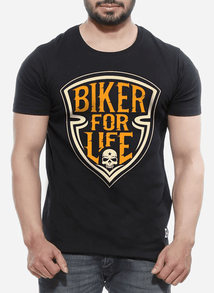 Tipu Sultan T-shirt SMALL / Black Biker For Life Half Sleeves T-shirt