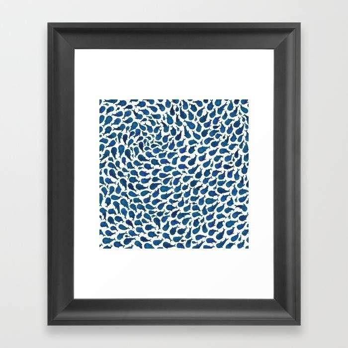 "VIRGIN TEEZ Framed Art Prints 8"" x 11"" / Black Blue Whales Frame"
