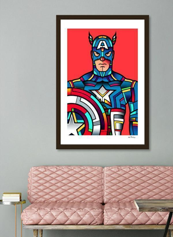 "LUVD Framed Art Prints 8"" x 11"" / Black Captain America  Frame"
