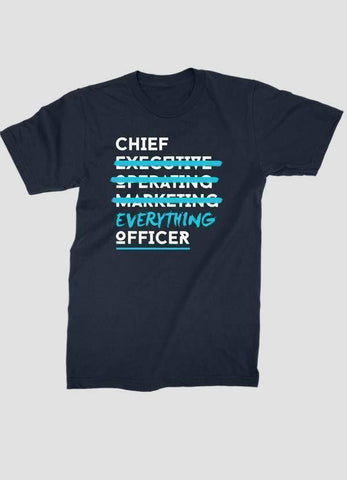 HAREF ART T-SHIRT Small CHIEF EVERYTHING OFFICER Printed T-shirt