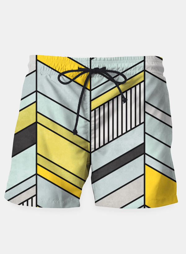 "Ayaz Ahmed Shorts SMALL (28""-18"") Colorful Concrete Abstract Chevron Pattern Shorts"