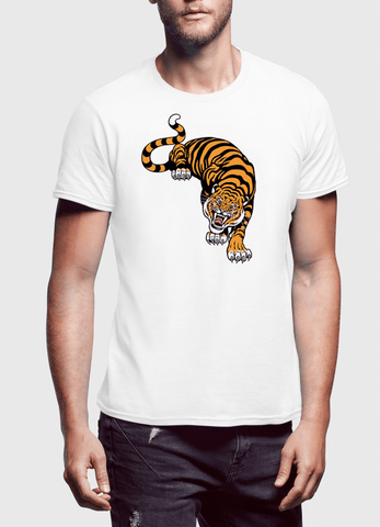 VIRGIN TEEZ T-SHIRT Small / White Cornered Tiger Printed T-Shirt