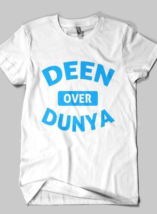 Fahad Khan T-shirt SMALL DEEN OVER DUNYA Islamic Half Sleeves T-shirt