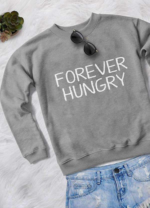 Sadaf Hamid Sweat Shirt FOREVER HUNGRY WOMEN PRINTED SWEAT SHIRT