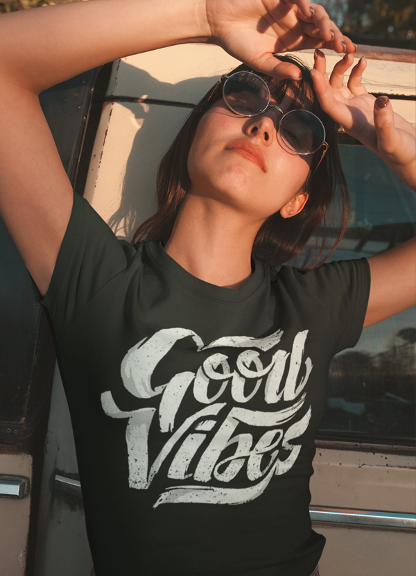 Virgin Teez Women T-Shirt Good Vibes Women T-shirt