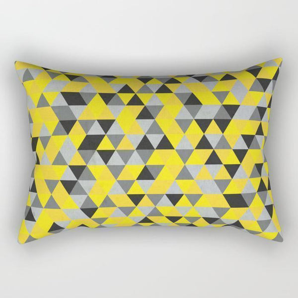 The Pillow pillows Gray & Yellow Triangle Rectangle Pillow