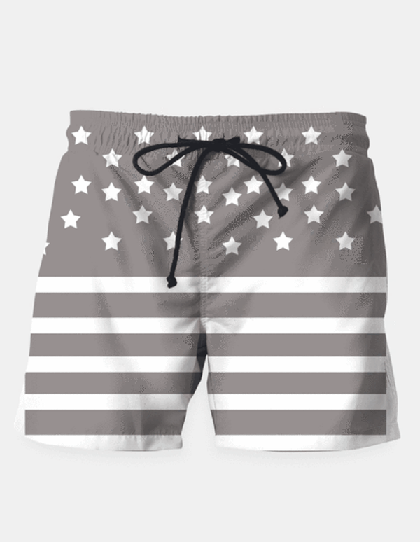 "Maria Shorts SMALL (28""-18"") / us Grey and White Stars & Stripes Swim Shorts"