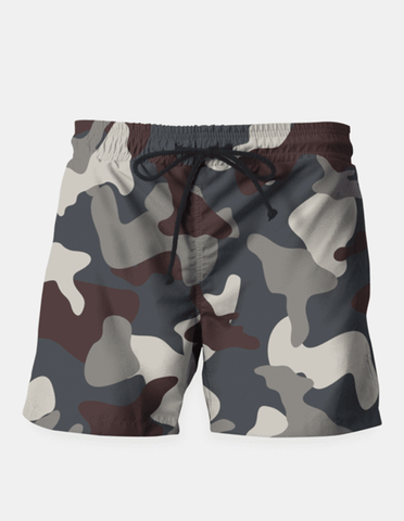 "Maria Shorts SMALL (28""-18"") / us Grey Blue Army Camouflage Pattern Shorts"