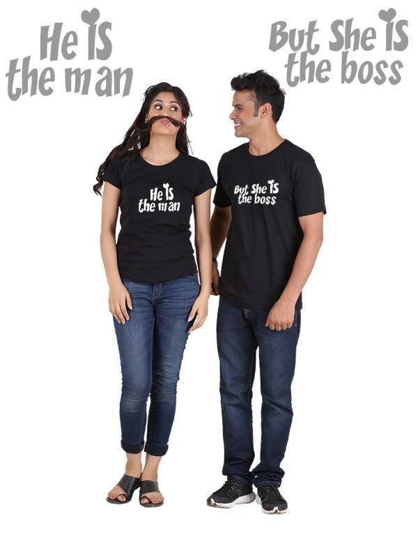 HUM TUM T-SHIRT He is the Man, She is the Boss (Classic) Classic Couple T-Shirt