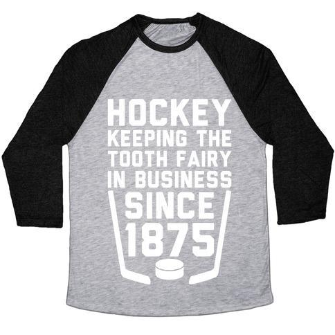 Virgin Teez  Baseball Tee Unisex Tri-Blend Baseball Tee / small / Athletic Gray / Black HOCKEY: KEEPING THE TOOTH FAIRY IN BUSINESS UNISEX TRI-BLEND BASEBALL TEE