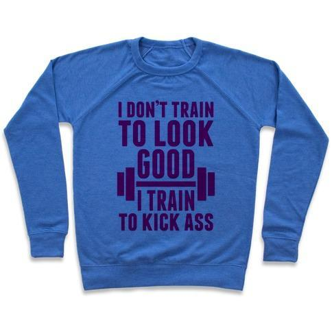 Virgin Teez  Pullover Crewneck Sweatshirt / x-small / Heathered Blue I DON'T TRAIN TO LOOK GOOD CREWNECK SWEATSHIRT