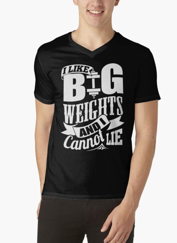 Ali Ahsan T-SHIRT I Like Big Weights & I Cannot Lie Gym Fitness Black V-neck T-Shirts