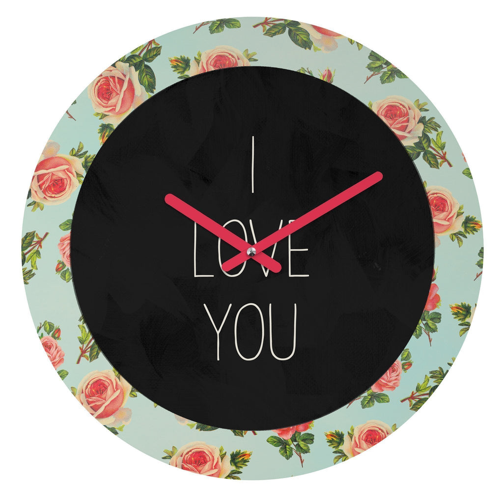 Wall Clock WallClock I LOVE YOU FLORAL WALL CLOCK