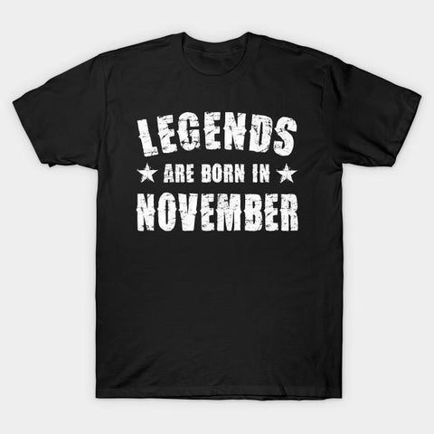 Virgin Teez T-shirt SMALL Legends are born in November Half Sleeves T-shirt