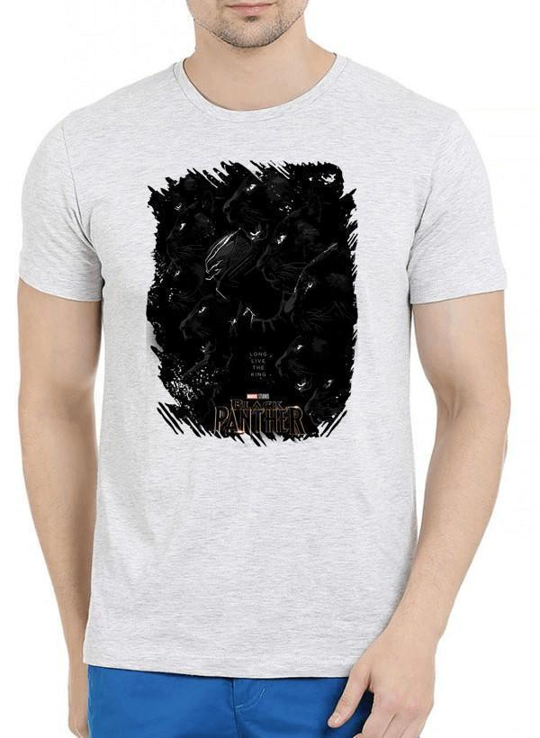 M Nidal Khan T-shirt SMALL / Offwhite Long Live the King Black Panther Half Sleeves Melange T-shirt