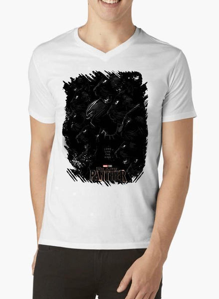 M Nidal Khan T-shirt SMALL / White Long Live the King Black Panther V-Neck T-shirt