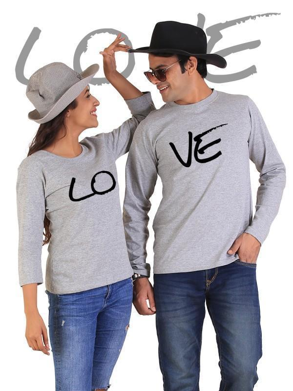 HUM TUM T-SHIRT LOVE Couple Full Sleeves Gray