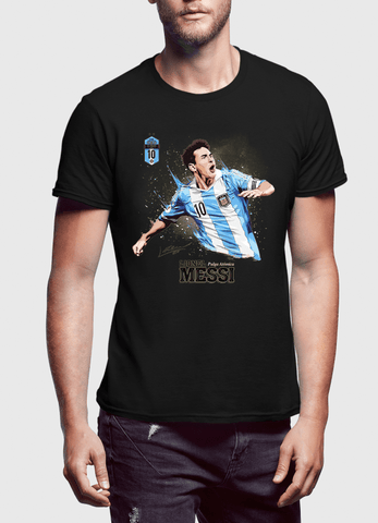 M Nidal Khan T-shirt SMALL / Black Messi Half Sleeves T-shirt