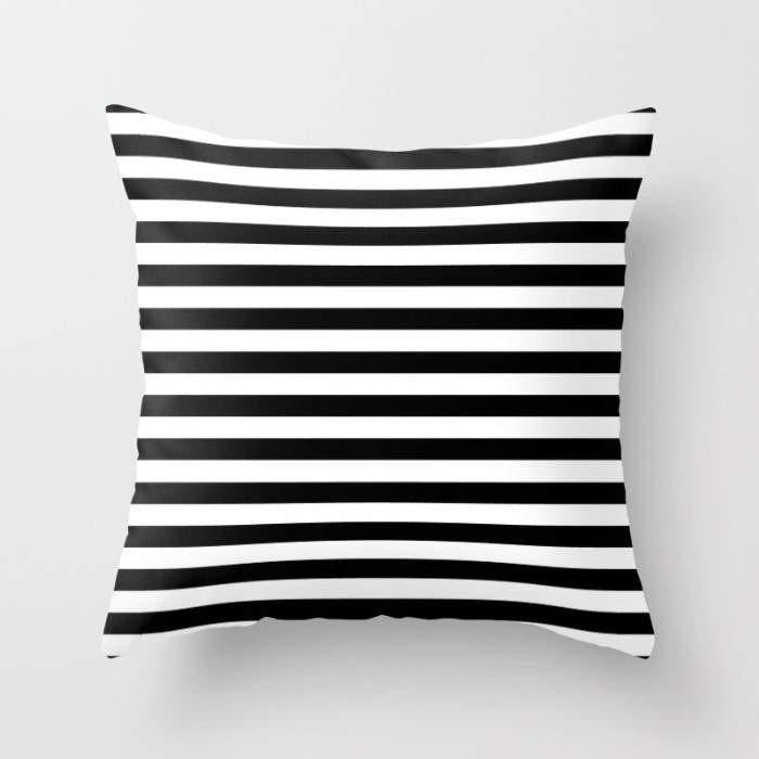 The Pillow pillows Modern Black White Stripes Monochrome Pattern Pillow