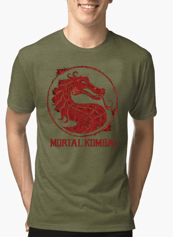 Virgin Teez T-shirt SMALL / Green Mortal Kombat Logo Half Sleeves Melange T-shirt
