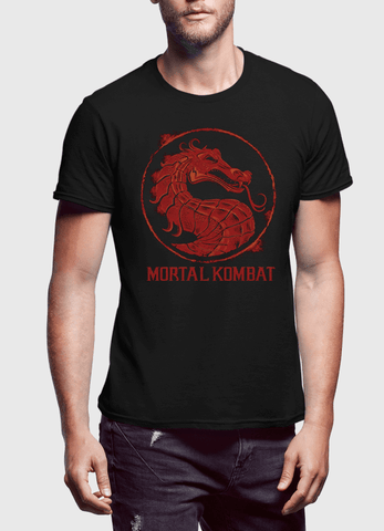 Virgin Teez T-shirt SMALL / Black Mortal Kombat Logo Half Sleeves T-shirt