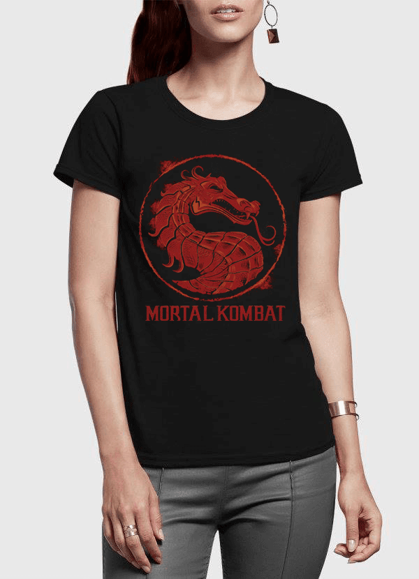 Virgin Teez Women T-Shirt SMALL Mortal Kombat Logo Half Sleeves Women T-shirt