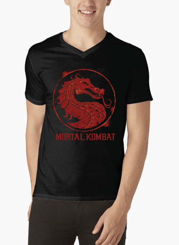 Virgin Teez T-shirt SMALL Mortal Kombat Logo V-Neck T-shirt