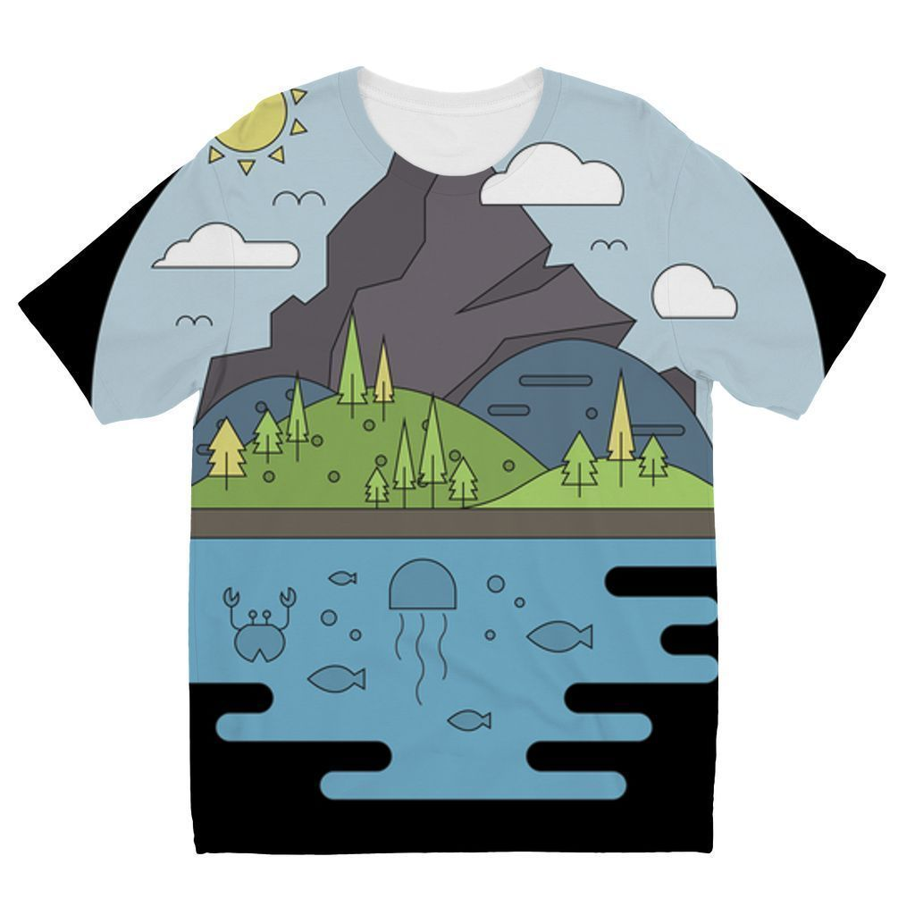 VIRGIN TEEZ Sublimation kids T-Shirt 3-4 Years Mountains World II Kids' Sublimation T-Shirt
