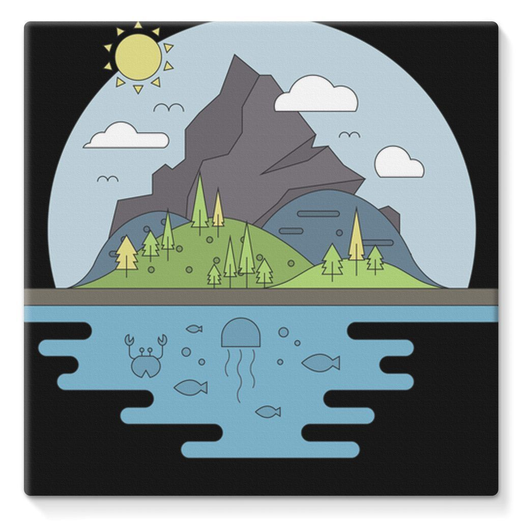 "kite.ly Wall Decor 10""x10"" Mountains World II Stretched Canvas"