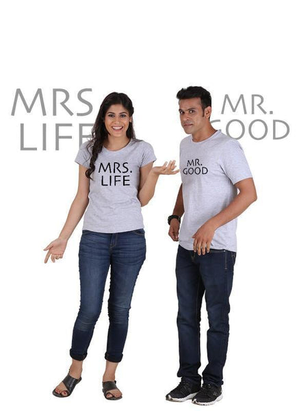HUM TUM T-SHIRT Mr Good and Mrs Life (Classic) Classic Couple T-Shirt Gray