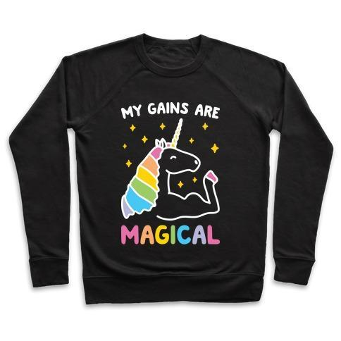 Virgin Teez  Pullover Crewneck Sweatshirt / x-small / Black MY GAINS ARE MAGICAL CREWNECK SWEATSHIRT