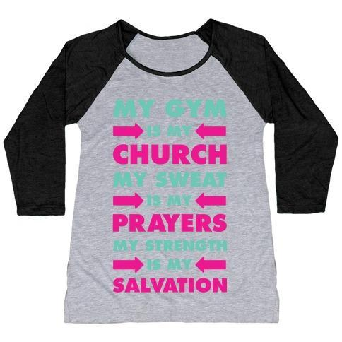 Virgin Teez  Baseball Tee Women's Tri-Blend Baseball Tee / small / Athletic Gray / Black MY GYM IS MY CHURCH WOMEN'S TRI-BLEND BASEBALL TEE