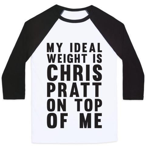 Virgin Teez  Baseball Tee Unisex Classic Baseball Tee / x-small / White/Black MY IDEAL WEIGHT IS CHRIS PRATT ON TOP OF ME UNISEX CLASSIC BASEBALL TEE